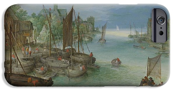 River View iPhone Cases - View of a City along a River iPhone Case by Jan Brueghel the Elder