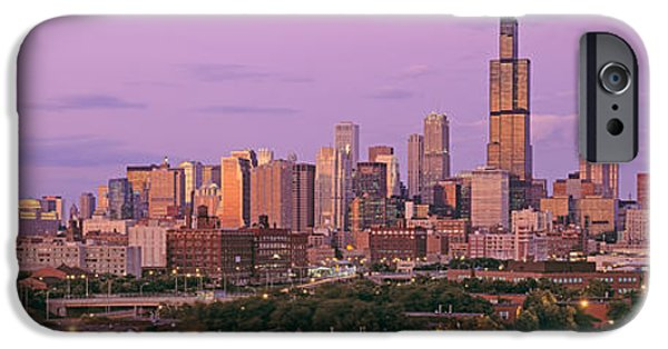 Sears Tower iPhone Cases - View Of A Cityscape At Twilight iPhone Case by Panoramic Images