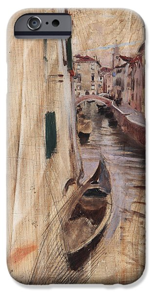 Venetian Canals iPhone Cases - View of a Venetian canal iPhone Case by Giovanni Boldini