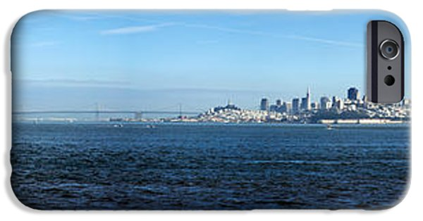 Alcatraz iPhone Cases - View Of Alcatraz Island And San iPhone Case by Panoramic Images