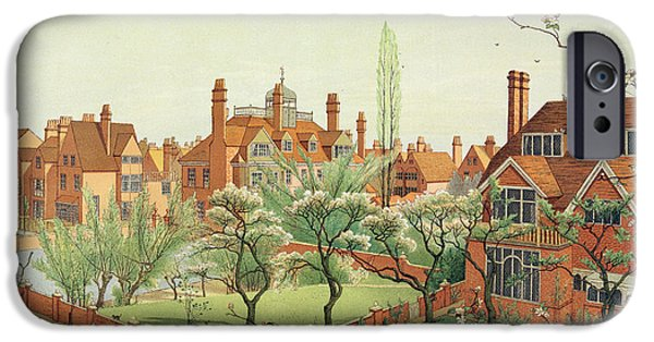 Cherry Blossoms iPhone Cases - View Of Bedford Park iPhone Case by English School