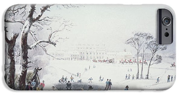 Snowy Drawings iPhone Cases - View of Buckingham House and St James Park in the Winter iPhone Case by John Burnet