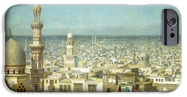 19th Century iPhone Cases - View of Cairo iPhone Case by Jean Leon Gerome