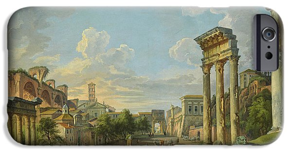 Paolo iPhone Cases - View of Campo Vaccino in Rome iPhone Case by Giovanni Paolo Panini