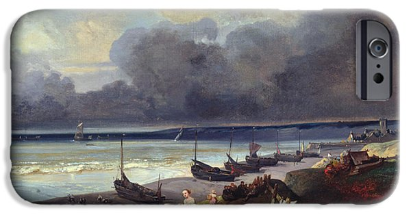 Boat Paintings iPhone Cases - View of Dieppe iPhone Case by Louis Eugene Gabriel Isabey