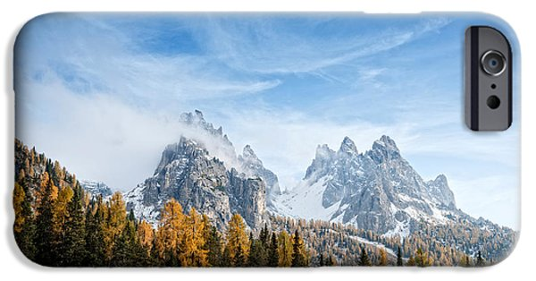 Mountain iPhone Cases - View Of Dolomite Mountains In Fall iPhone Case by Panoramic Images