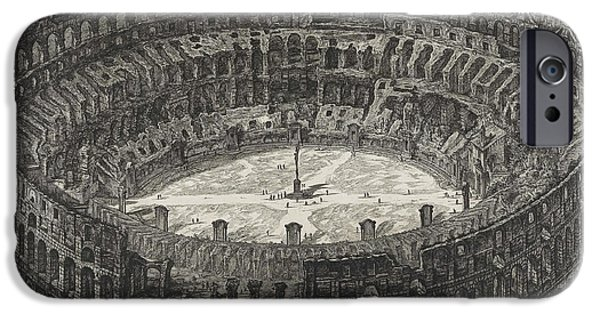 Ruin Drawings iPhone Cases - View of Flavian Amphitheater called the Colosseum iPhone Case by Giovanni Battista Piranesi