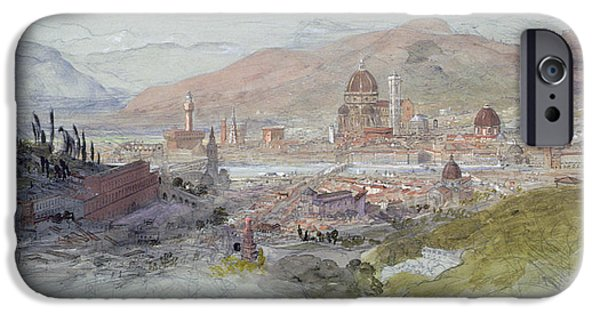 Tuscan Hills Paintings iPhone Cases - View of Florence iPhone Case by Samuel Palmer