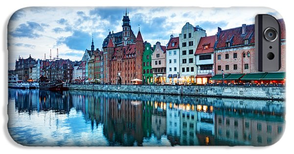 Facade iPhone Cases - View of Gdansk old town and Motlawa river Poland at sunset iPhone Case by Michal Bednarek