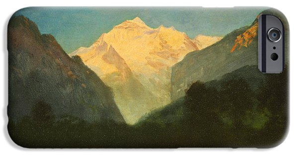 Park Scene Paintings iPhone Cases - View of Glacier Park or Sunset on Peak iPhone Case by Albert Bierstadt