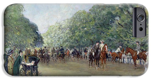 Industrial Paintings iPhone Cases - View of Hyde Park with Figures on Rotten Row  iPhone Case by Albert Jnr Ludovici