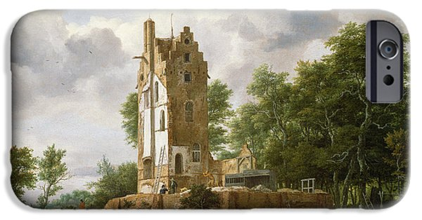 Bathing iPhone Cases - View Of Kostverloren Castle On The Amstel Oil On Canvas iPhone Case by Jacob Isaaksz. or Isaacksz. van Ruisdael
