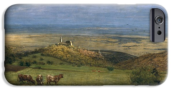 Bucolic iPhone Cases - View of Kronberg in Taunus iPhone Case by Hans Thoma