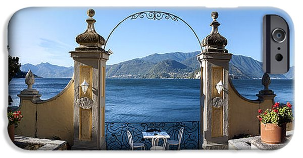 Built Structure iPhone Cases - View Of Lake Como From A Patio iPhone Case by Panoramic Images