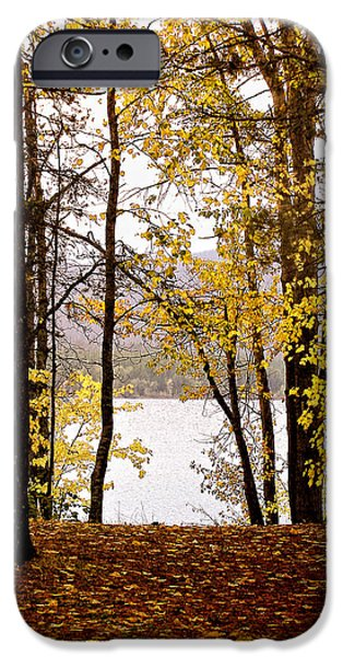 Fall iPhone Cases - View of  Lake McDonald iPhone Case by Susan Kinney