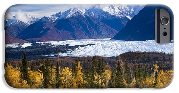 Matanuska iPhone Cases - View Of Matanuska Glacier With Golden iPhone Case by Carl Johnson