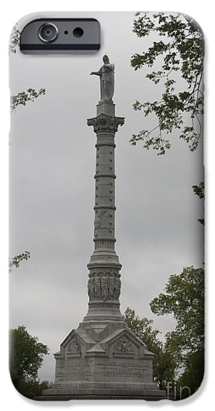 View of Monument at Yorktown iPhone Case by Teresa Mucha
