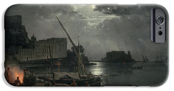 Moonlit iPhone Cases - View Of Naples In Moonlight, 1829 Oil On Canvas iPhone Case by Silvestr Fedosievich Shchedrin
