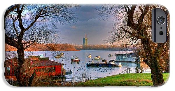 Belgrade iPhone Cases - View of New Belgrade over the Danube. Serbia iPhone Case by Juan Carlos Ferro Duque