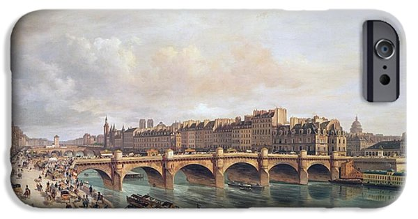 River iPhone Cases - View Of Pont Neuf, 1832 Oil On Canvas iPhone Case by Guiseppe Canella