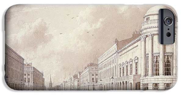 Thoroughfare iPhone Cases - View Of Regent Street, 1825 Ink Pencil Wash On Paper iPhone Case by English School