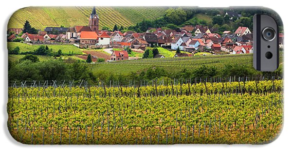 Vineyards Of Alsace Photographs iPhone Cases - View of Rodern From the Vineyards of Alsace iPhone Case by Greg Matchick