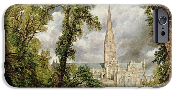 Romanticism iPhone Cases - View of Salisbury Cathedral from the Bishops Grounds iPhone Case by John Constable