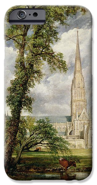 View of Salisbury Cathedral from the Bishop's Grounds iPhone Case by John Constable