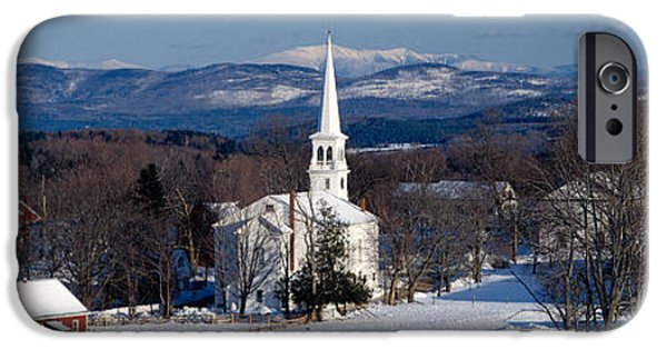 New England Village iPhone Cases - View Of Small Town In Winter, Peacham iPhone Case by Panoramic Images