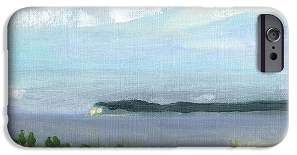 Chicago Paintings iPhone Cases - View of South Manitou Island iPhone Case by Charles Pompilius