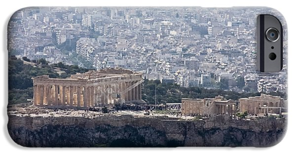 Athens Ruins iPhone Cases - View of the Acropolis from Lykavittos Hill iPhone Case by Anthony Doudt
