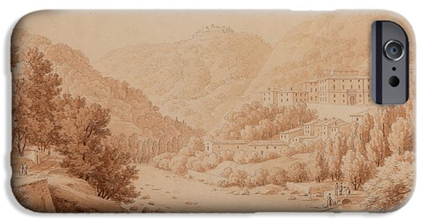Landscapes Drawings iPhone Cases - View of the Baths of Lucca iPhone Case by Constant Bourgeois du Castelet