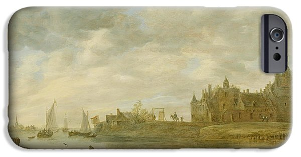 Castle iPhone Cases - View of the Castle of Wijk at Duurstede iPhone Case by Jan van Goyen