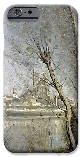 Fall Of River Paintings iPhone Cases - View of the Cathedral and Town through the Trees iPhone Case by Jean Baptiste Camille Corot