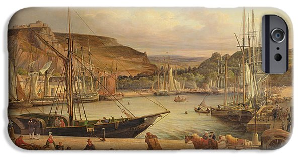 Boats At The Dock iPhone Cases - View of the commercial port at Cherbourg iPhone Case by Theodore Deslinieres