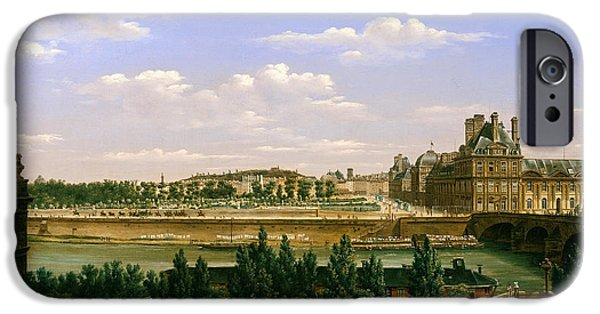 River iPhone Cases - View Of The Gardens And Palace Of The Tuileries From The Quai Dorsay, 1813 Oil On Canvas iPhone Case by Etienne Bouhot