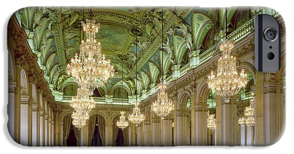 Chandelier iPhone Cases - View Of The Grande Salle Des Fetes, After 1871 Photo iPhone Case by French School