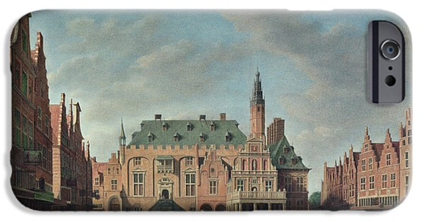 Town iPhone Cases - View Of The Grote Markt In Haarlem Oil On Canvas iPhone Case by Gerrit Adriaensz Berckheyde