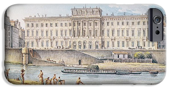 River iPhone Cases - View Of The Hotel Des Monnaies At The Confluence Of The Two Branches Of The Seine Wc On Paper iPhone Case by Victor Jean Nicolle