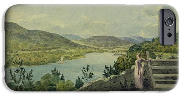 Hudson River iPhone Cases - View of the Hudson circa 1817 iPhone Case by Aged Pixel