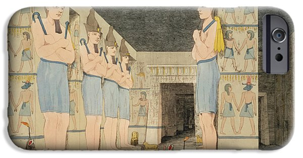 Egypt iPhone Cases - View Of The Interior Of The Temple iPhone Case by Giovanni Battista Belzoni