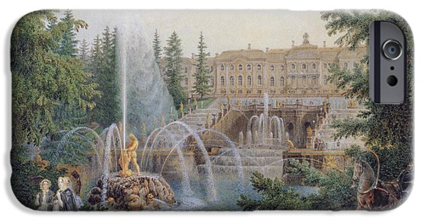 Horse And Buggy Photographs iPhone Cases - View Of The Marly Cascade From The Lower Garden Of The Peterhof Palace, C.1830-60 Wc On Paper iPhone Case by Vasili Semenovich Sadovnikov
