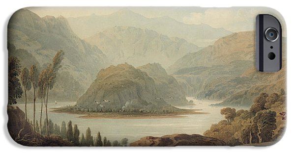 Landscapes Drawings iPhone Cases - View Of The Mondego River iPhone Case by John Varley