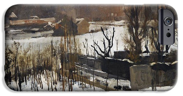 19th Century Photographs iPhone Cases - View Of The Oosterpark, Amsterdam, In The Snow, 1892, By George Hendrik Breitner 1857-1923 iPhone Case by Bridgeman Images