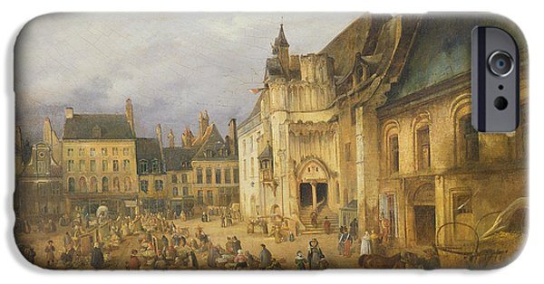 Horse And Cart iPhone Cases - View Of The Place De Lhotel De Ville, Saint-omer, 1832 Oil On Canvas iPhone Case by Charles Goureau