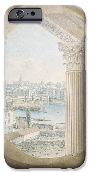 River iPhone Cases - View Of The Pont Neuf From A Bulls Eye Window Of The Louvre, 1810 Wc On Paper iPhone Case by Victor Jean Nicolle