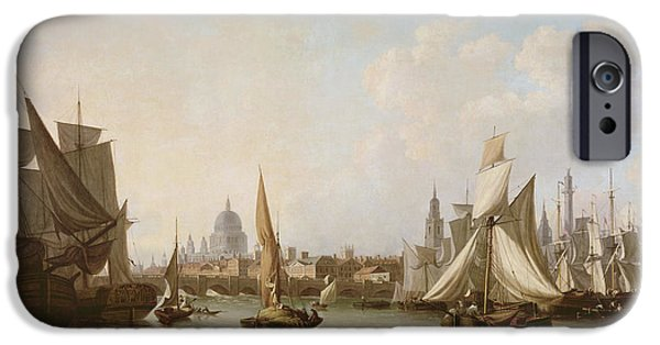 River iPhone Cases - View Of The River Thames Oil On Canvas iPhone Case by John Thomas Serres
