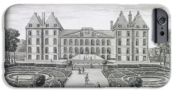 Garden Drawings iPhone Cases - View of the Royal Chateau of Saint Maur from the garden  iPhone Case by Jacques Rigaud