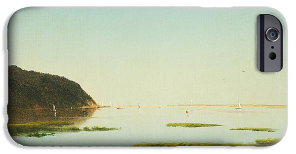 Kensett iPhone Cases - View of the Shrewsbury River New Jersey iPhone Case by John Frederick Kensett