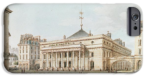 Exterior iPhone Cases - View Of The Theatre De Lodeon, Paris Pen & Ink And Wc On Paper iPhone Case by Victor Jean Nicolle